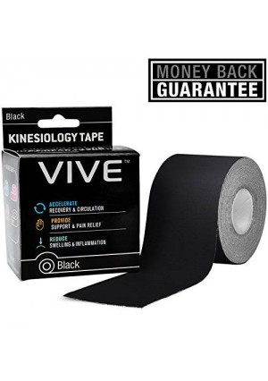 Kinesiology Tape by VIVE | 2 in. x 16.5 ft. | Sweat Proof Technology for Sports, Knee, Ankle, Shoulder, Wrist and More - VIVE Guarantee (Black)
