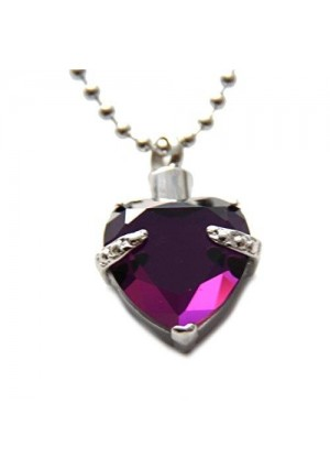 Lauren Annabelle Studio Purple Heart Cremation Urn Necklace Jewelry Memorial Keepsake Pendant Ash Holder