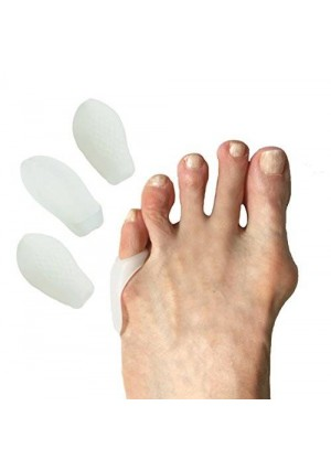 Tip and Toes Tailors Bunion or Bunionettes Pinky Toe Protector, Pack of Four Soft Gel Padded Guards to Protect the Tailor Bunion on Your Little Toe