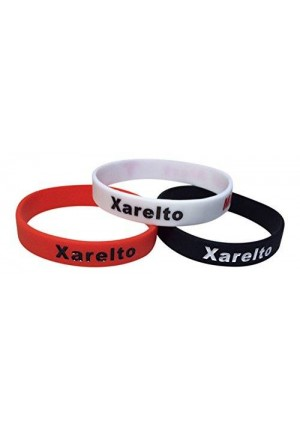 First Choice Essentials Xarelto Bracelets Medical Alert Silicone Wristbands(Pack of 3) Black, White, Red Plus Bonus Wellness Article Included