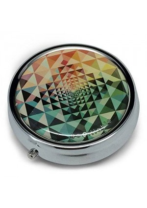 gopillable Kaleidoscope Pattern Pill Box; Red, Green, Blue, and Orange for Pocket or Purse