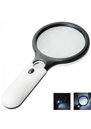Marrywindix 3 LED Light 45X Handheld Magnifier Reading Magnifying Glass Lens Jewelry Loupe White and Black