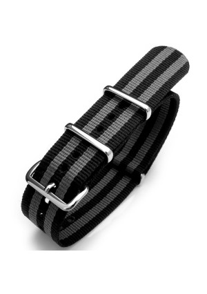 20mm NATO strap 22mm G10 Nato James Bond Heavy Nylon Strap Polished Buckle - NYJ Double Black and Grey