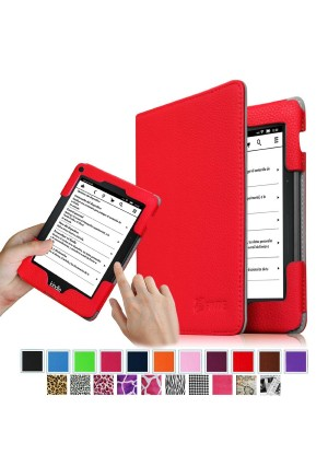 Fintie Folio Case for Kindle Voyage - Premium PU Leather Book Style Case Cover with Auto Sleep/Wake (will only fit Amazon Kindle Voyage 2014), Red