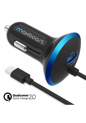 Quick Charge 2.0 Car Charger, Maxboost 30W Dual Output USB -Smart 5V/2.4A +QC 2.0 12V/9V/5V MicroUSB Cable for Samsung Galaxy S7/S6/Edge/Edge Plus/Note 5,HTC One,LG,Nexus 5 6 4 7, iPhone 6/6S Plus