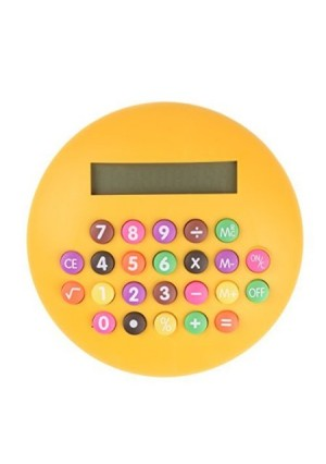 ChezMax Round Shape Colorful Buttons 8 Digits LCD Display Calculator Portable Mini Desktop Calculator Yellow
