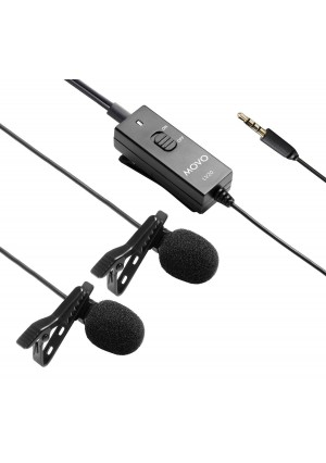 Movo LV20 Dual Capsule Battery-Powered Lavalier Clip-on Omnidirectional Condenser Interview Microphone for Cameras, Camcorders and Recorders (TRS 3.5mm Plug)