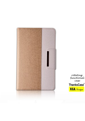 iPad Mini 4 Case,Thankscase Rotating Case Cover for Ipad Mini 4 with Wallet and Pocket with Hand Strap with Smart Cover Function for iPad Mini 4 2015 (Gold)