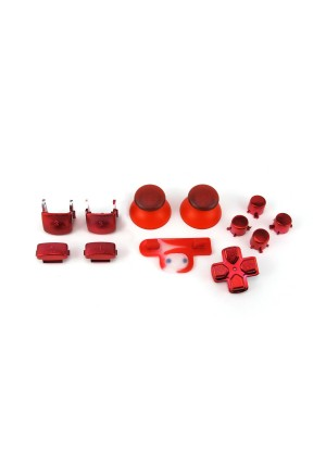 Console Customs PS3 Controller Chrome Red Full Parts Set (Thumbsticks, Buttons, D-pad, Triggers, Start/Select)