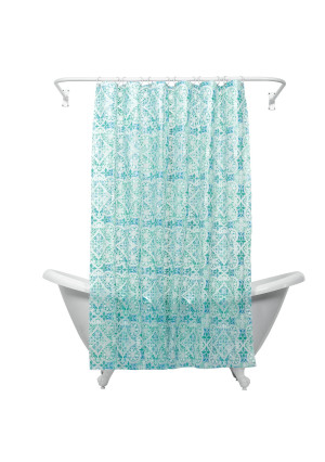 ZPC Zenith Products Zenna Home, India Ink Morocco Peva Shower Curtain Liner, Teal