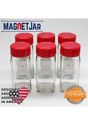 MagnetJar Spice Jar - Sifter Flip Cap / 6 Pack (4oz - Medium, Red)