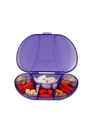 "Multi-day Vitacarry 8 Compartment Pill Box Holds up to 60 Pills Actual Size: 4.5""w X 3.0""d X .93""h (Purple)"