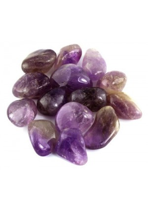 """Crystal Allies Materials: 1lb Bulk Tumbled Amethyst Quartz from Brazil - Large 1"""" Polished Natural Stones for Reiki Crystal Healing *Wholesale Lot*"""