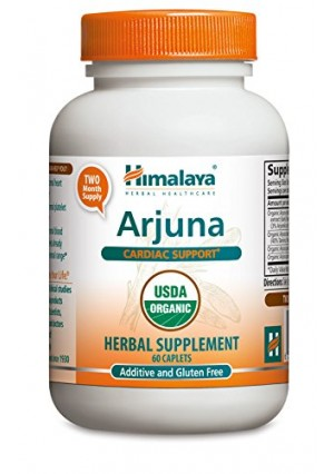 Himalaya Organic Arjuna 60 Caplets for Cholesterol, Blood Pressure and Healthy Heart Function Support 700mg
