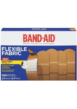 """Band-Aid Adhesive Bandages, Flexible Fabric, All One Size 1"""" X 3"""" , 100 Count"""