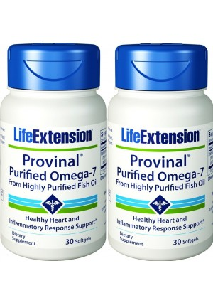 Life Extension Provinal Purified Omega-7, 30 Softgel 210 mg(Pack of 2)