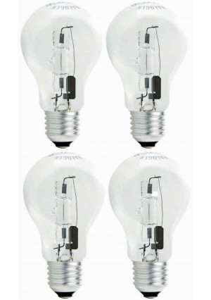 TCP 60 Watt Equivalent 4-pack, Value Clear Halogen A19 Light Bulbs, Dimmable, Soft White 442243B4CLV