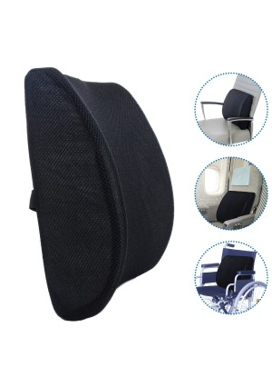 Milliard Lumbar Support Pillow; Memory Foam Chair Cushion Supports Lower Back for Easy Posture in the Car, Office, Plane and Your Favorite Chair