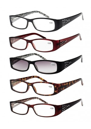Eyecedar Reading Glasses Women 5-pack Metal Spring Hinges Elliptic Frames Includes 5-Cloth Pouch And Sun Readers Glasses+2.00