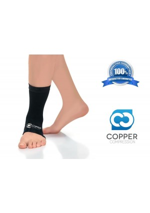 Copper Compression Recovery Ankle Sleeve, GUARANTEED Highest Copper Content. Infused Fit Ankle Support Brace / Wrap / Sock / Stabilizer For Men And Women. Wear Anywhere (Medium)