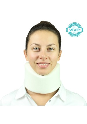Neck Brace by Vive - Best Cervical Collar - Adjustable Soft Collar Can Be Used During Sleep - Wraps Aligns and Stabilizes Vertebrae - Relieves Pain and Pressure in Spine - One-Size Fits Most