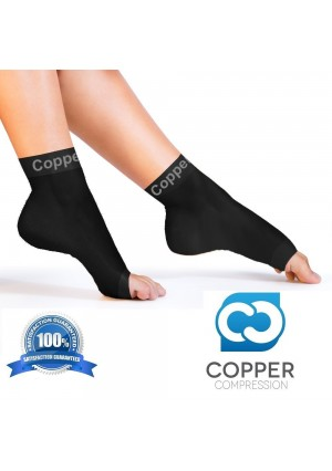 Copper Compression Recovery Foot Sleeves / Plantar Fasciitis Support Socks - GUARANTEED To Speed Up Recovery and Provide Relief Of Heel Spurs, Arch Pain, Foot Swelling and Ankle Injuries 1 PAIR, Medium