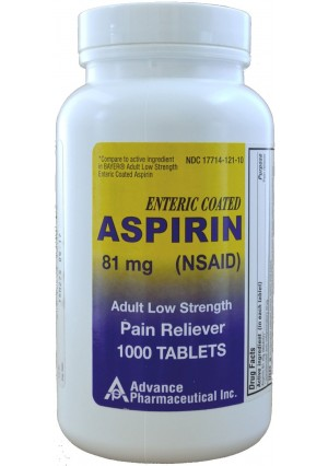 Advance Pharmaceutical Aspirin Adult Low Dose Enteric Coated 81 mg Generic for Bayer Aspirin Low Dose 1000 Tablets Per Bo