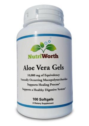 NutriWorth Aloe Vera Gels, 10,000mg Softgels(contains organic aloe vera), Non-GMO, High Potency 20