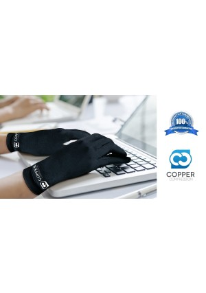 Copper Compression Full Finger Arthritis Gloves. Highest Copper Content GUARANTEED! Best Copper Infused Fit Gloves For Carpal Tunnel, Computer Typing, and Support For Hands. 1 PAIR Of Gloves (Small)