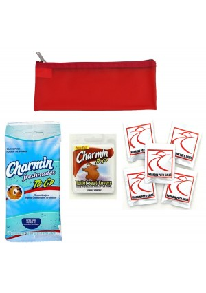 Narrow Path Sales Public Toilet and Restroom Survival Kit, Toiletry Bag for Germ Protection, Flushable Wipes and Toi