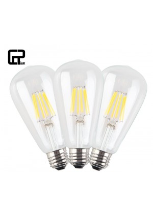 CRLight 6W Edison Style Vintage LED Filament Light Bulb, 2700K Warm White 600LM, E26 Medium Base Lamp, ST21(ST64) Antique Shape, Clear Glass Cover, 60W Incandescent Replacement, Non-dimmable, 3 Pack