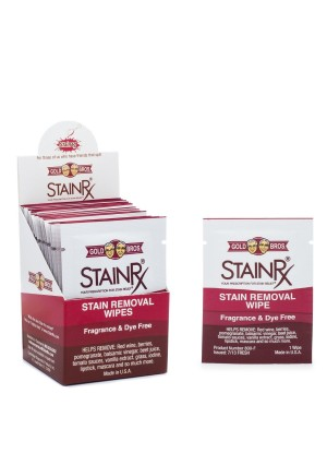 Stain Rx Wipes - Portable Stain Treater Towelettes - Pack of (18) Wipes Fragrance and Dye Free Household Cleaner
