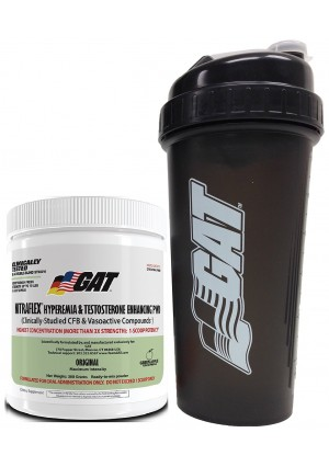 GAT Clinically Tested Nitraflex, Testosterone Enhancing Pre Workout 300 g (30 servings) with BONUS GAT Shaker Bottle (Green Apple)