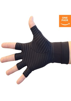 HealthMaxx Hand Pain Relief Gloves - Copper Compression Gives Relief Rheumatoid Arthritis & Carpal Tunnel Syndrome