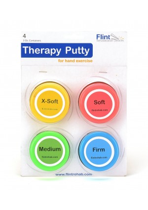 Flint Rehabilitation Devices Premium Quality Therapy Putty for Hand Exercise Four (3oz) Variable Resistance Containers for Reha