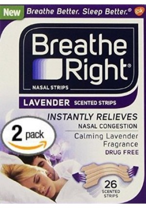 2 Pack Breathe Right Nasal Strips LAVENDER SCENTED Strips 52 Strips of Calming Lavender