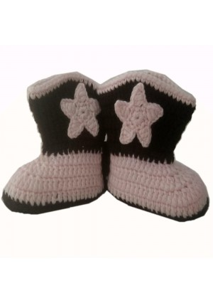 Holystore Cowboy Baby Bootie Boots Handmade Crochet Baby Boots Toddler Shoes Pink with Apricot 9cm