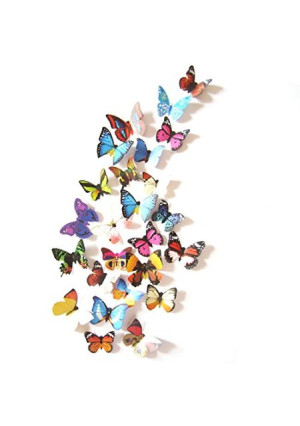 Amaonm 19 Pcs Removable Diy Pvc 3d Colorful Butterfly Wall Sticker Murals Wall Decals Wall Decorations Art Decor Decal for Nursery Room Classroom Offices Kids Bedroom Bathroom Living Room(color B)