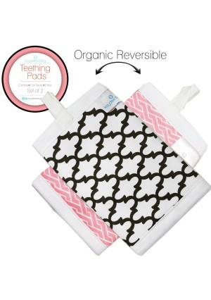 Kaydee Baby Reversible Organic Cotton Teething Pads w/ Polyester Fleece Inner Lining for Baby Carriers for Girls and Boys (Pink Chevron/Moroccan) - 2 Pack