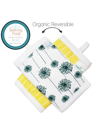Kaydee Baby Organic Cotton Reversible Teething, Drool and Dribble, Chew Pads w/ Organic Fleece Inner Lining for Baby Carriers for Girls and Boys (Dandelions) - 2 Pack