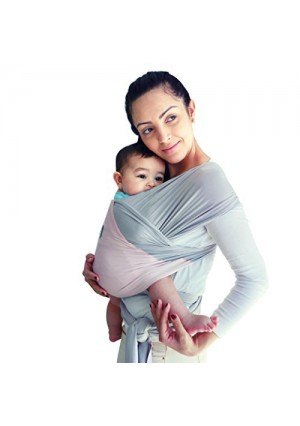 Breathable Modal Baby Wrap | 50% More BREATHABLE 2x Softer Than Cotton Carrier Wraps | Cool Light Stretchy Comfy Sling Wrap w Pocket | Nursing and Sleeping | Unique Baby Shower Gift (Grey/Pink)