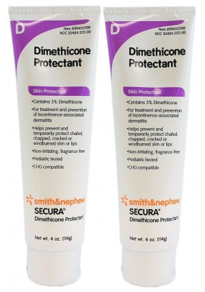 Secura Dimethicone Skin Protectant Cream - 4 Ounce Tube - Pack of 2