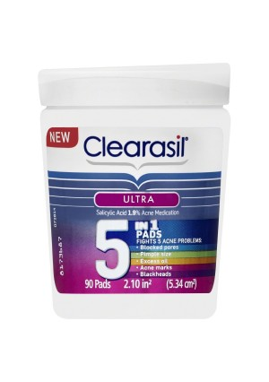 Clearasil Ultra 5 in 1 Acne Face Wash Pads, 90 Count