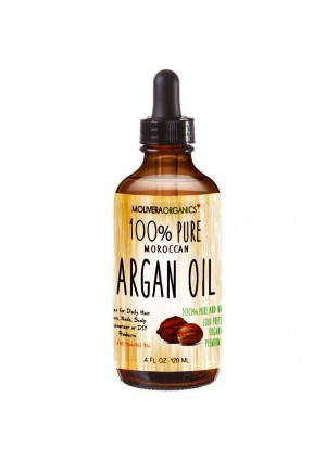 Molivera Organics Premium Argan Oil 4 Fl Oz. 100% Pure Moroccan Organic Triple Extra Virgin Cold Pressed Best for Hair, Skin, Face and Nails – Great for DIY – UV Resistant Bottle–Satisfaction Guarantee