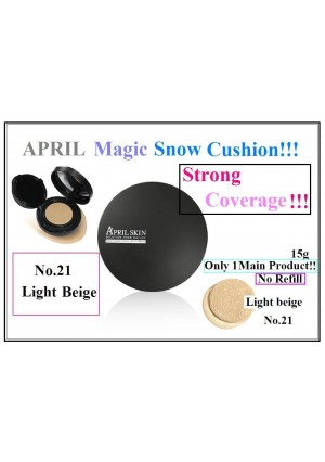 From USA + April Skin Magic Snow Cushion No.21 Light Beige 15g (No Refill)