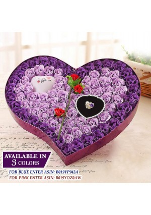 Ginzick 92 Pcs Romantic Heart Flower Soap Roses with Led Love Heart Great For Mothers Day Fathers Day Valentines Day And And All Year Round I Love You Gift Box - Color Purple