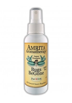 Bugs BeGone for Kids by Amrita Aromatherapy-Therapeutic Grade  Lemon Eucalyptus Essential Oil, DEET-Free and Kid Safe Natural Insect Repellent: Mosquitos, Fleas, Ticks, Ants andChigger Deterrent(Size:4oz)