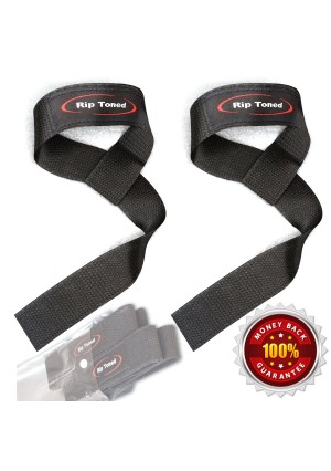 Lifting Straps By Rip Toned (PAIR) - Normal or Small Wrists - Bonus Ebook - Cotton Padded - Weightlifting, Crossfit, Bodybuilding, Strength Training, Powerlifting