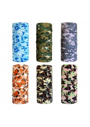 Cool Pack of 6 Pcs Seamless Style Camo Bandanna Headwear Scarf Wrap Neck Gaiters. Perfect for Running and Hiking, Biking and Riding, Skiing and Snowboarding, Hunting, Working Out and Yoga for Women and Men