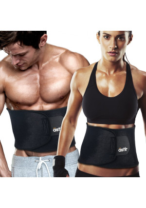 "Astir Waist Trimmer Ab Belt For Women and Men•Extra Long (44""), Extra Wide (9""), and Extra Flexible Sweat Belt with Maximum Abdominal Coverage•Non-Slip Surface for Max Waist Slimming•Lifetime Guarantee"